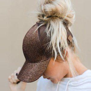 Bronze Glitter C.C Ponytail Messy Bun Baseball Cap
